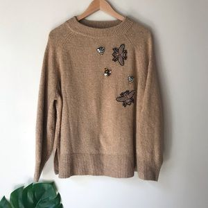 H&M   Sweater with Beaded Insect Appliqués Beige L